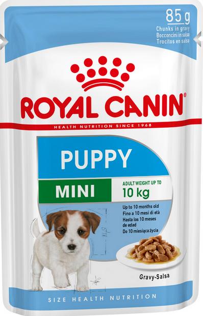 Konservi kucēniem – Royal Canin SHN Mini Puppy, 85 g title=