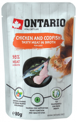 Konservi kaķiem - Ontario Pouch Chicken and Codfish in Broth, 80 g