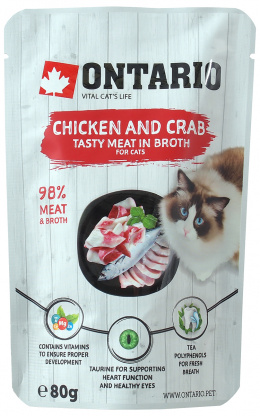 Konservi kaķiem - Ontario Pouch Chicken and Crab in Broth, 80 g