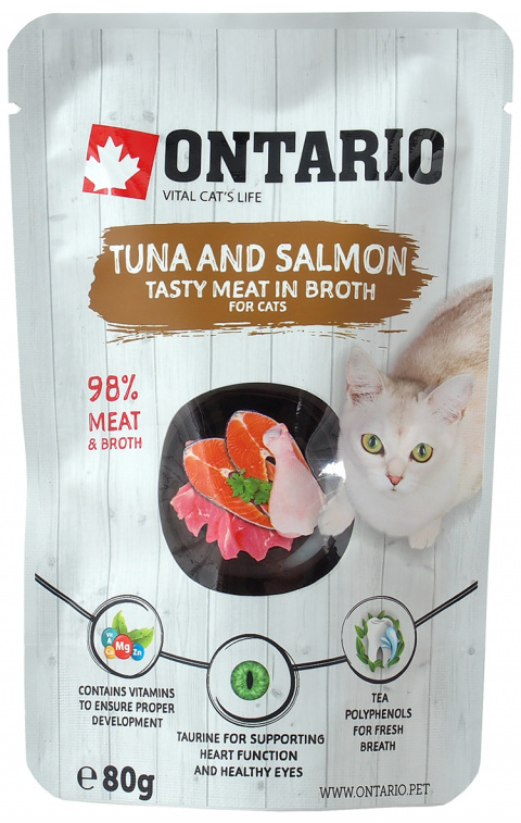 Konservi kaķiem - Ontario Pouch Tuna and Salmon in Broth, 80 g
