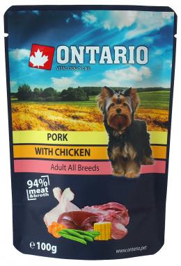 Консервы для собак - Ontario Dog Pork with Chicken in Broth, 100 г