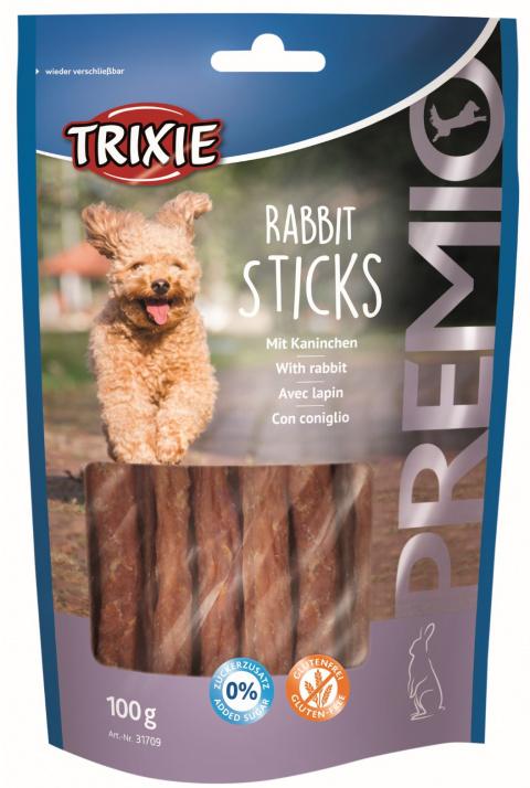 Gardums suņiem - TRIXIE PREMIO Rabbit Sticks, 100 g title=