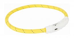 Atstarojošā kakla siksna suņiem - USB Flash Light Ring, 45cm/7mm, dzeltenā krasā