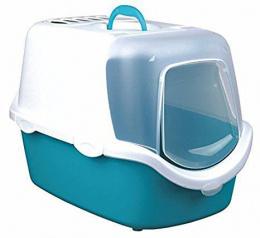Туалет для кошек - Vico Easy Clean Litter Tray, 40*40*56 цвет -  бирюзовый/белый
