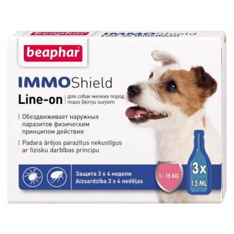 Līdzeklis pret blusām, ērcēm suņiem - Beaphar IMMO SHIELD, LINE-ON Small Dog, 3pip. title=