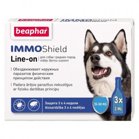 Līdzeklis pret blusām, ērcēm suņiem - Beaphar IMMO SHIELD, LINE-ON Medium Dog, 3pip. title=