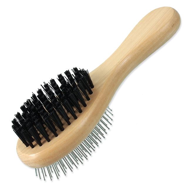 Ķemme dzīvniekiem - DogFantasy Soft Brush, double-sided, wooden, small