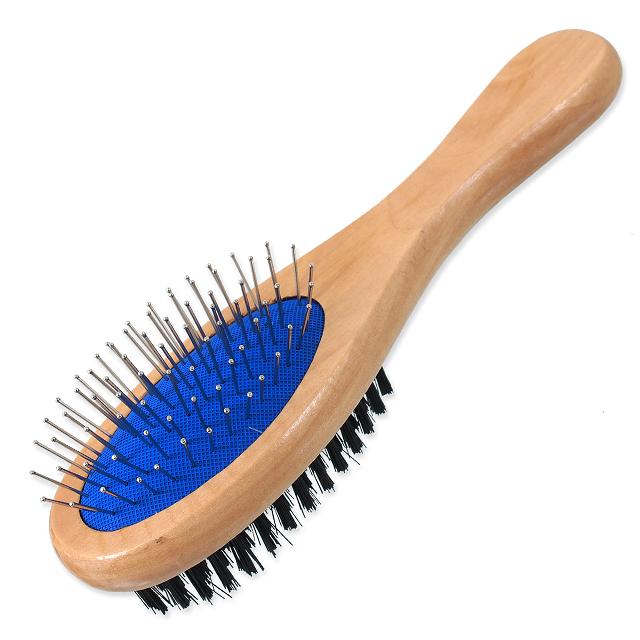 Расческа для животных - DogFantasy Soft Brush, double-sided, wooden, medium