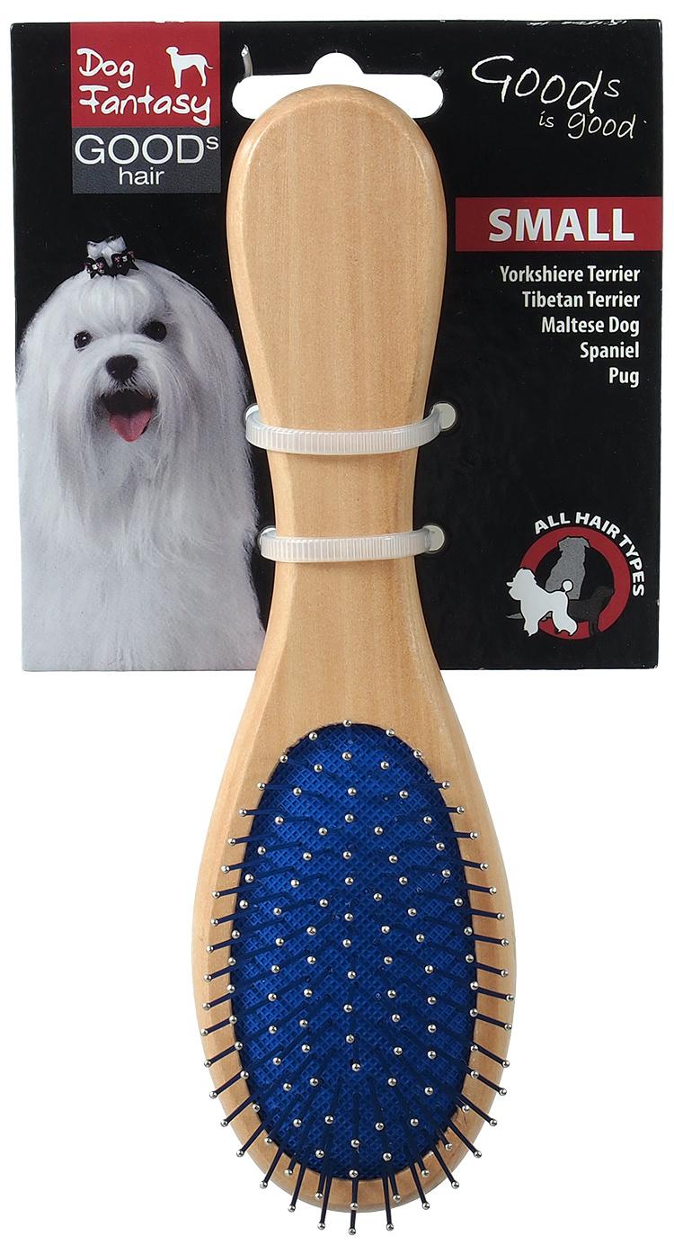 Расческа для животных - DogFantasy Soft Brush, double-sided, wooden, small