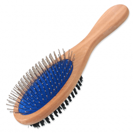 Расческа для животных - DogFantasy Soft Brush, double-sided, wooden, large