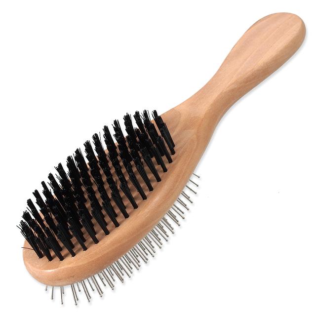 Ķemme dzīvniekiem - DogFantasy Soft Brush, double-sided, wooden, large