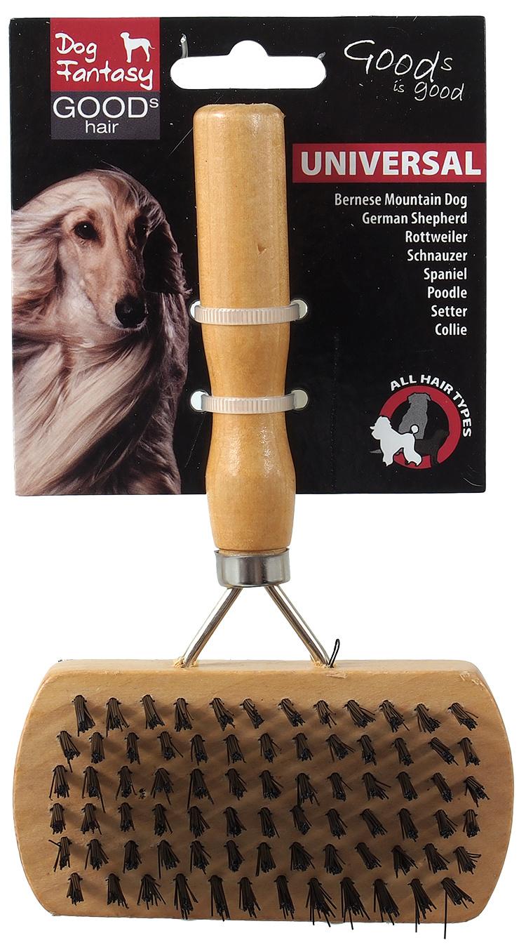 Ķemme dzīvniekiem - DogFantasy Universal Brush double-sided, wooden