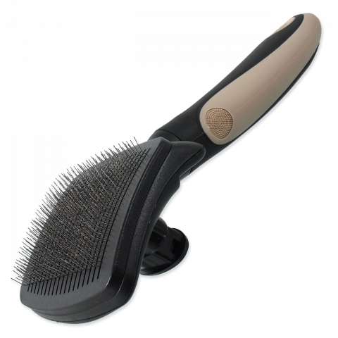 Расческа для животных - DogFantasy Plastic Brush, self-cleaning, M/L