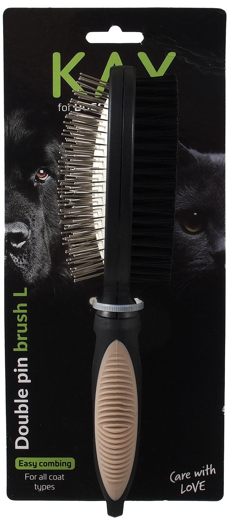 Ķemme dzīvniekiem – KAY Double pin brush, L
