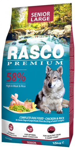 Barība suņiem - Rasco Premium Senior Large Breed, 15 kg