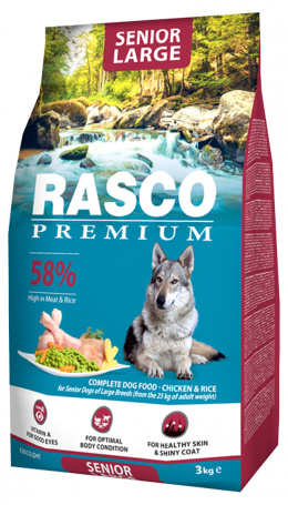 Barība suņiem - Rasco Premium Senior Large Breed, 3 kg
