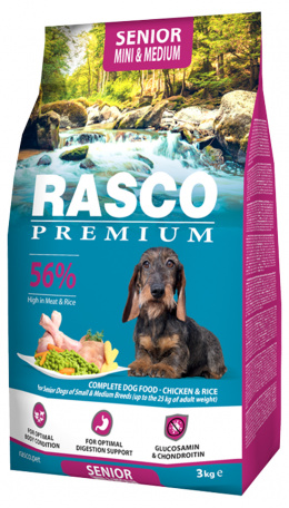 Barība suņiem - Rasco Premium Adult Senior Small & Medium Breed, 3 kg