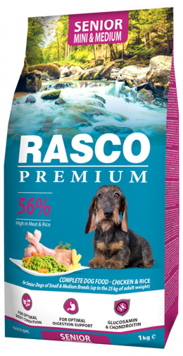 Barība suņiem - Rasco Premium Adult Senior Small & Medium Breed, 1 kg