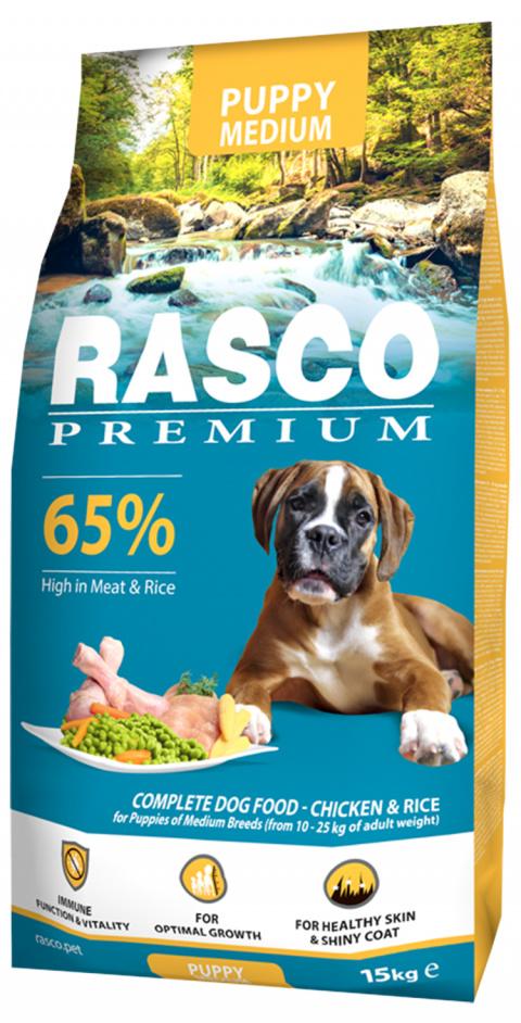 Barība kucēniem - Rasco Premium Medium Junior, 15 kg