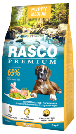 Barība kucēniem - Rasco Premium Medium Junior, 3 kg