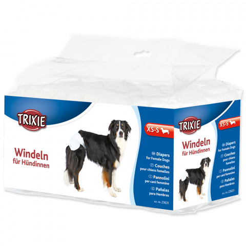 Autiņbiksītes suņiem – TRIXIE Diapers for Female Dogs, XS–S: 20–28 cm, 12 gab. title=