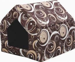 Спальное место для кошек - Безумный дом прямоугольной формы с подушкой, M, 43*43*51cm, коричневый