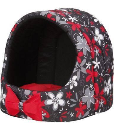 Спальное место для кошек - Безумный дом овальной формы с подушкой, M 40*40*42cm, красный