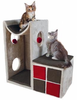 Домик для кошек - TRIXIE Cat Tower Nevio, 67*36*70см, цвет - серый/красный