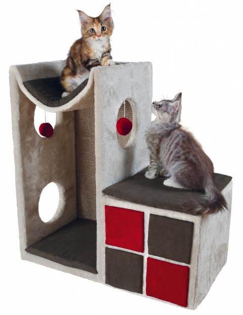Mājiņa kaķiem - TRIXIE Cat Tower Nevio, 67*36*70cm, krāsa - pelēka/sarkana