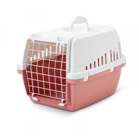 Transportēšanas bokss dzīvniekiem - SAVIC Trotter 1, retro, 49*33*30cm, krāsa - balta/rozā