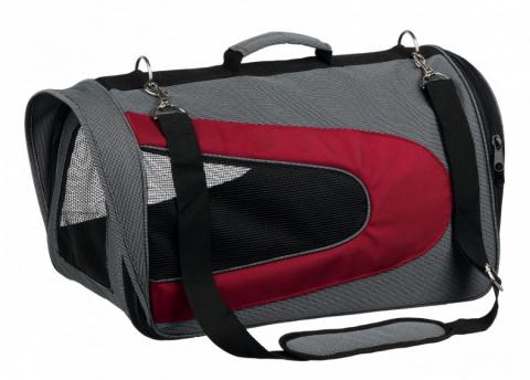 Transportēšanas soma dzīvniekiem - Trixie Alina carrier, 27 x 27 x 52 cm, grey/red title=