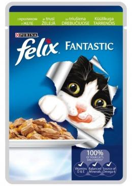 Konservi kaķiem - Felix ar trusi želejā, 100 g