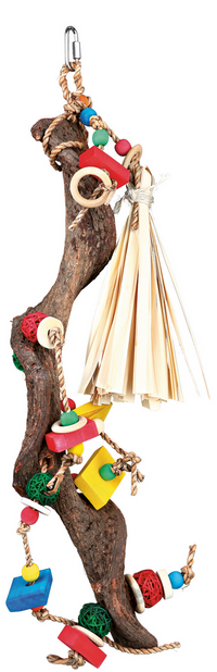 Rotaļlieta putniem - Wooden toy with wicker balls, 56 cm