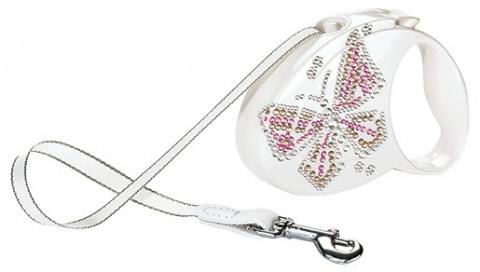 Inerces pavada - Flexi Glam Butterfly, krāsa - perlamutra balta