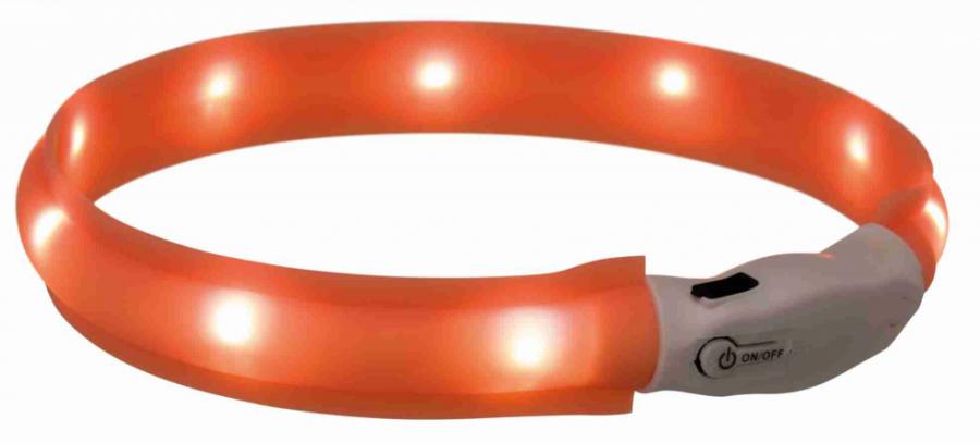 Gaismu izstarojoša kakla siksna - Flash ORANGE 35 cm