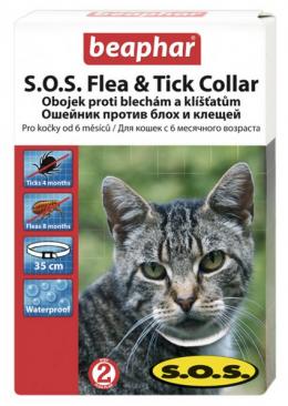 Pretblusu siksna kaķiem - S.O.S. Flea & Tick Collar Cat, bezrecepšu vet.zāles reģ. NR - VA - 072463/3