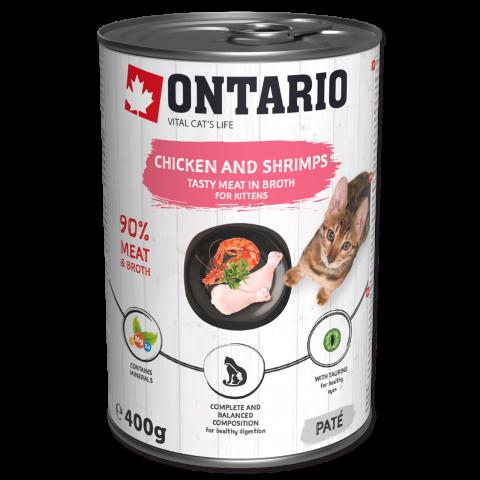 Konservi kaķēniem - Ontario Kitten ar vistas gaļu un garnelēm, 400 g title=
