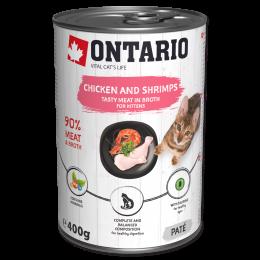 Konservi kaķēniem - Ontario Kitten ar vistas gaļu un garnelēm 400g