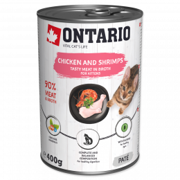 ONTARIO Can Kitten Chicken, Shrimp, Rice and Salmon Oil 400g