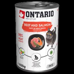 Konservi kaķiem - Ontario ar liellopa gaļu un lasi, 400 g