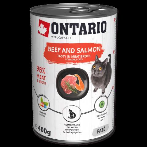 Konservi kaķiem - Ontario ar liellopa gaļu un lasi, 400g