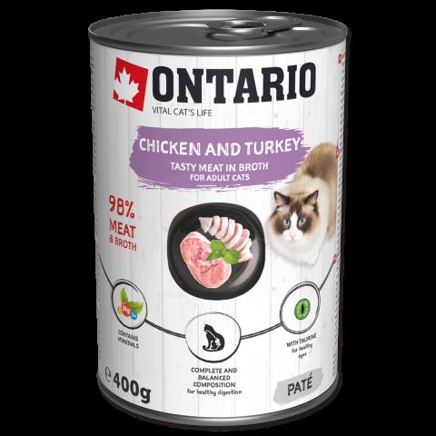 Консервы для кошек - Ontario с курицей и индейкой, 400 г title=