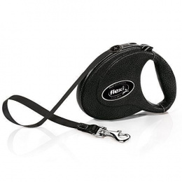 Inerces pavada suņiem - FLEXI Leather CC, melna (āda)