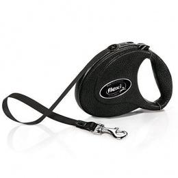 Inerces pavada suņiem - FLEXI Leather CC, melna ādas