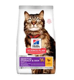 Barība kaķiem - Hill's Feline Sensitive Stomach Skin ar vistu, 1,5 kg