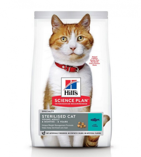 Barība kaķiem - Hill's Feline Sterilised Young Adult Tuna, 1.5 kg