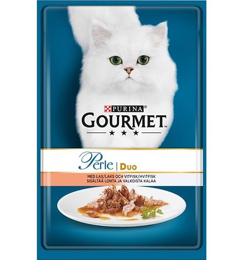 Konservi kaķiem - Gourmet Perle DUO ar lasi un saidu, 85 g