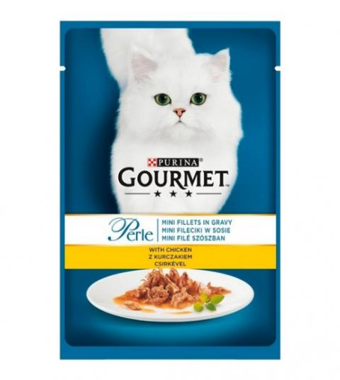 Konservi kaķiem - Gourmet Perle Chicken in Gravy, 85 g title=