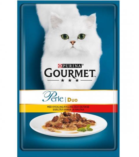 Konservi kaķiem - Gourmet Perle DUO ar liellopa un vistas gaļu, 85 g