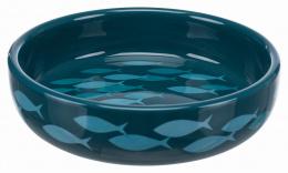 Bļoda kaķiem - Ceramic Bowl for short-nosed breeds, 0.3 l/15 cm, petrol/blue